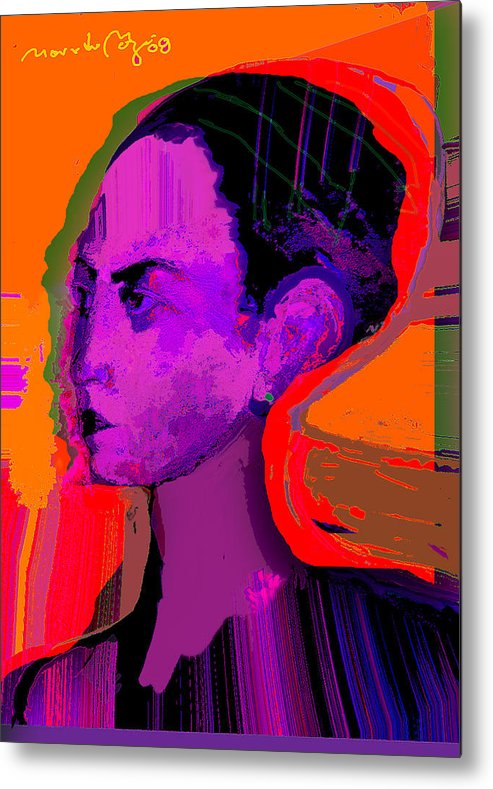 Portrait Metal Print featuring the painting Sweet Anticipation by Noredin Morgan