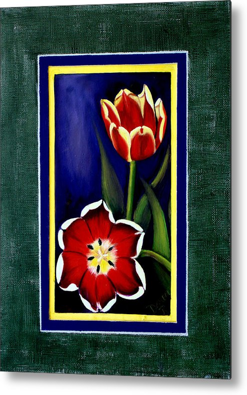 Tulips Metal Print featuring the painting Sweetheart Tulips by Darlene Green