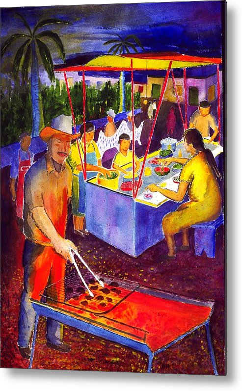 Plaza Metal Print featuring the painting Taco Barbaque by Buster Dight
