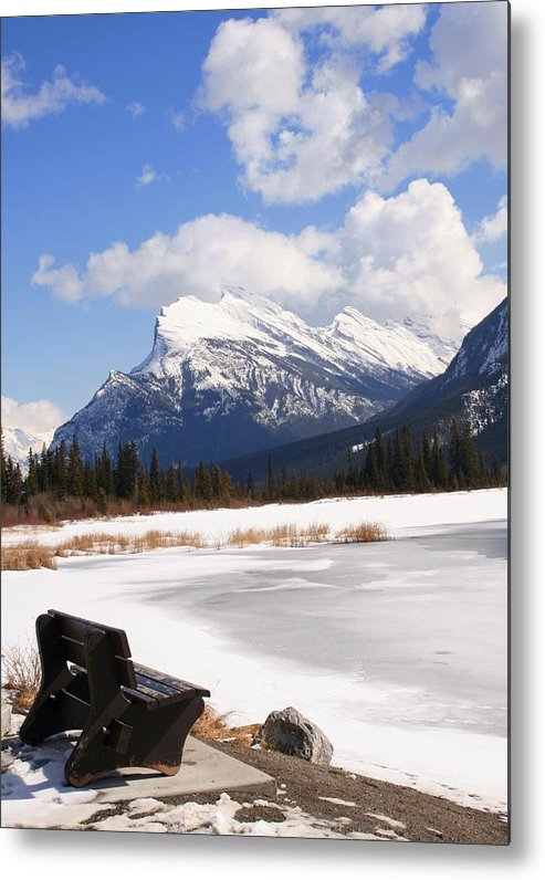 Vermillion Lake Metal Print featuring the photograph Take A Seat At Vermillion Lake by Tiffany Vest