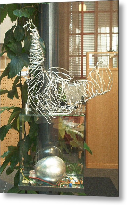 Metal Print featuring the sculpture Techno Hen by Jarle Rosseland