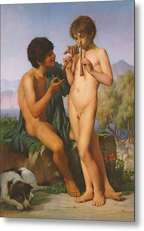 Boy Metal Print featuring the painting The Flute Lesson by Jules Elie Delaunay