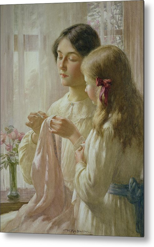 The Metal Print featuring the painting The Lesson by William Kay Blacklock
