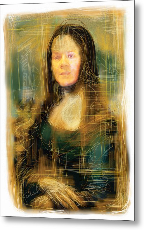 Mona Lisa Metal Print featuring the mixed media The Mona Lisa by Russell Pierce