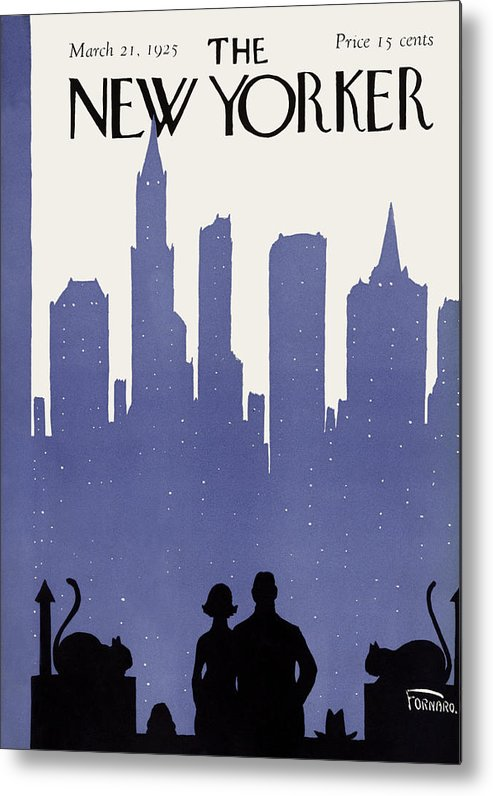 Skyline Metal Print featuring the painting The New Yorker Cover - March 21st, 1925 by Carl Fornaro
