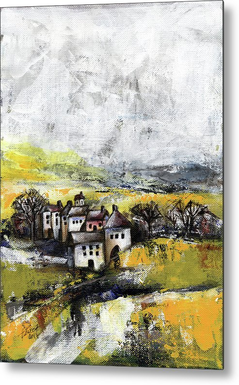 Landscape Metal Print featuring the painting The Pink House by Aniko Hencz