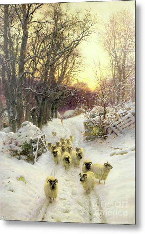 Sunset Metal Print featuring the painting The Sun Had Closed The Winter's Day by Joseph Farquharson