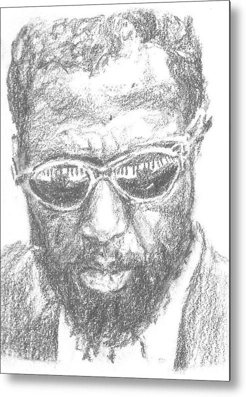 Thelonius Monk Metal Print featuring the drawing Thelonius Monk by Maya Lewis