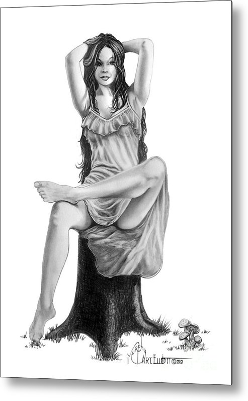 Figure Drawing Metal Print featuring the drawing Tree Nymph by Murphy Elliott