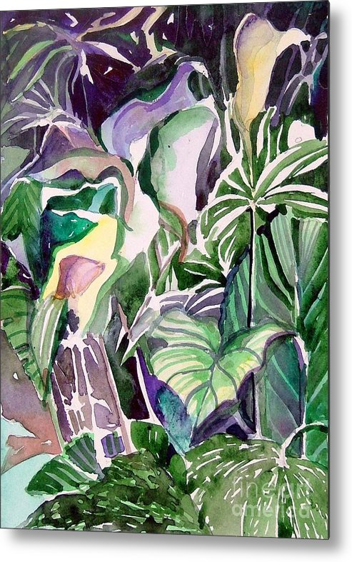 Botanicals Metal Print featuring the painting Tropic Lights by Mindy Newman