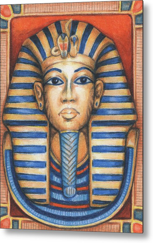 Atc Metal Print featuring the drawing Tut's Golden Mask by Amy S Turner