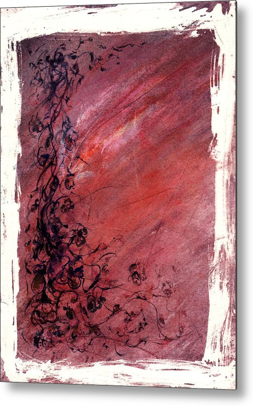 Floral Metal Print featuring the painting Twilight Rose by Rachel Christine Nowicki