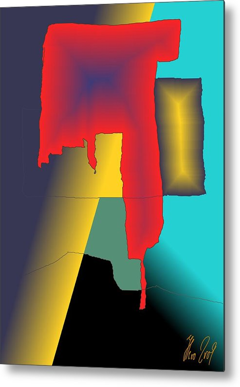 Red Metal Print featuring the digital art Unexpected- Red by Helmut Rottler