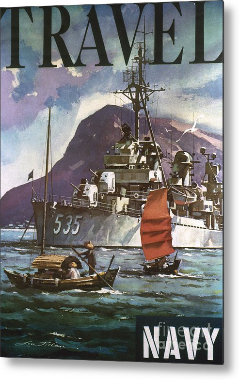 1930s Metal Print featuring the photograph U.s. Navy Travel Poster by Granger