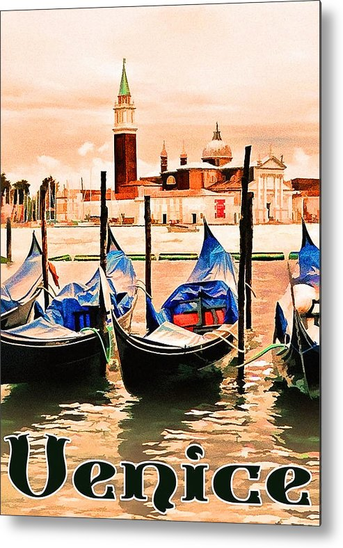 Venice Metal Print featuring the painting Venice, City Of Romance, Italy, Gondolas by Long Shot