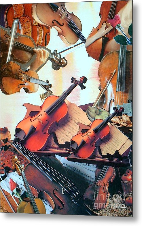 Music Metal Print featuring the mixed media Violin Concierto by Judith Espinoza