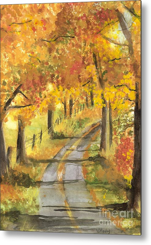 Fall Metal Print featuring the painting Walkin by Vivian Mosley