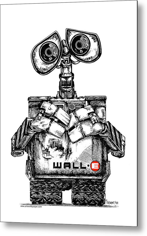 Pen And Ink Metal Print featuring the drawing Wall-e by James Sayer