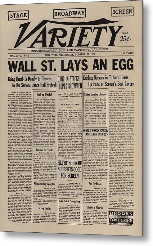 History Metal Print featuring the photograph Wall Street Lays An Egg. Famous by Everett