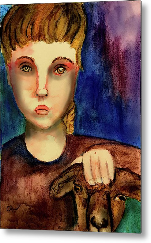 Girl Metal Print featuring the painting Watching by Cynthia Richards