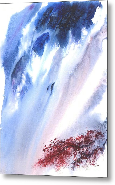 A Waterfall- A Watercolor Painting Metal Print featuring the painting Waterfall by Mui-Joo Wee