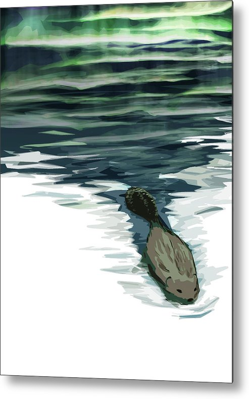 Beaver Metal Print featuring the digital art We're Still Building Text 0 by Kate McQueen