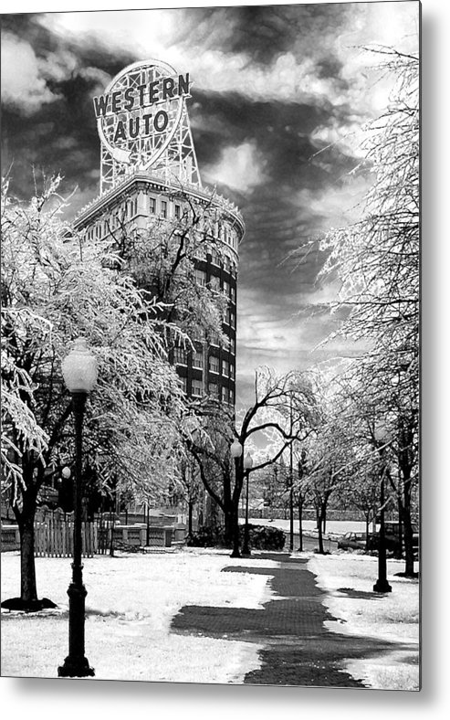 Western Auto Kansas City Metal Print featuring the photograph Western Auto In Winter by Steve Karol