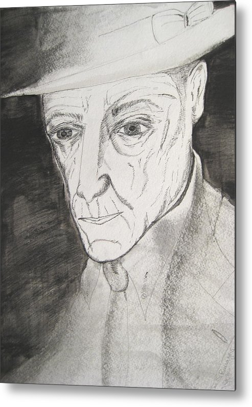 23 Author Black Burroughs Enigma Ink Man Music Painting Portrait Revolutionary Watercolor William Metal Print featuring the painting William S. Burroughs by Darkest Artist
