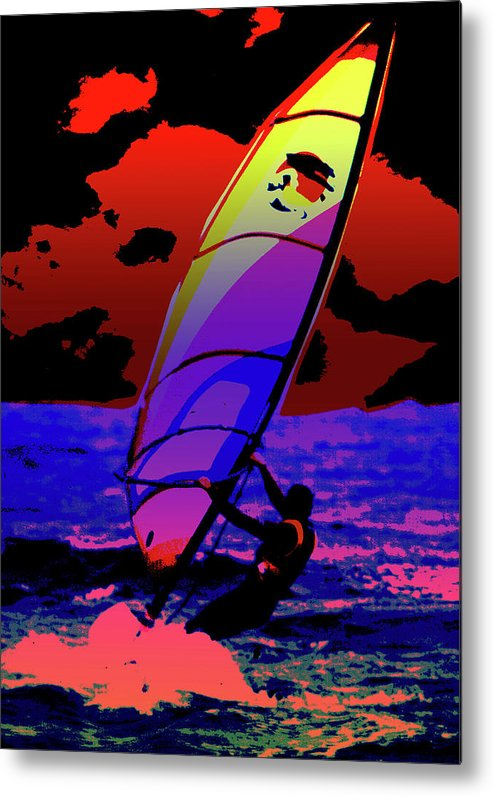Abstract Metal Print featuring the mixed media Windsurfer by Brian Roscorla