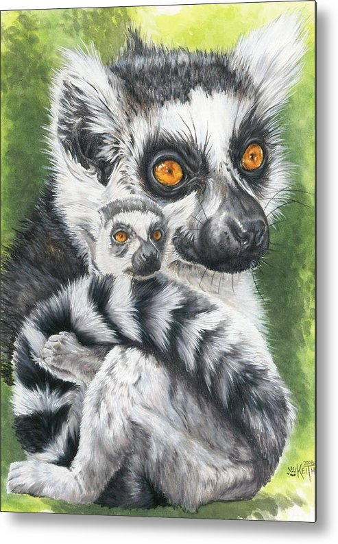 Lemur Metal Print featuring the mixed media Wistful by Barbara Keith