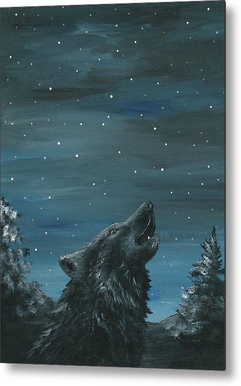 Wolf Metal Print featuring the painting Wolf And The Stars by Christine StPierre