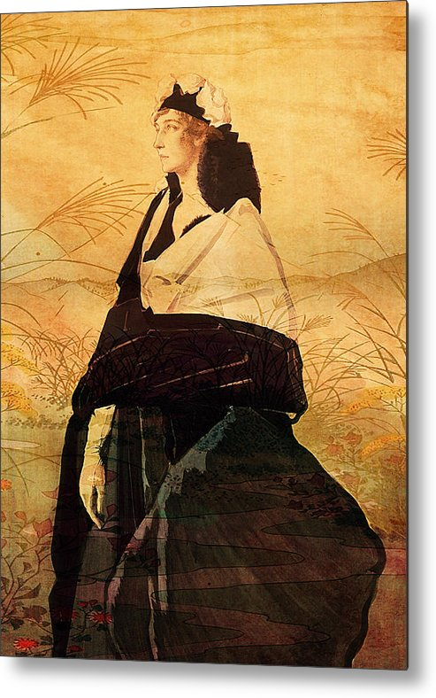 Woman Metal Print featuring the digital art Woman In Black by Sarah Vernon