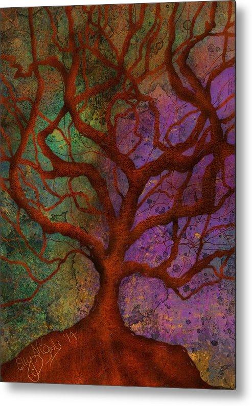 Abstract Metal Print featuring the digital art Wonder Tree by Ellen Dawson