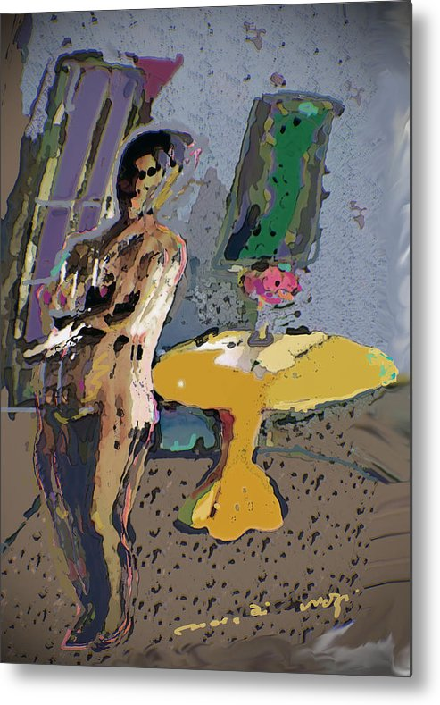 Nude Metal Print featuring the painting Yellow Table II by Noredin Morgan
