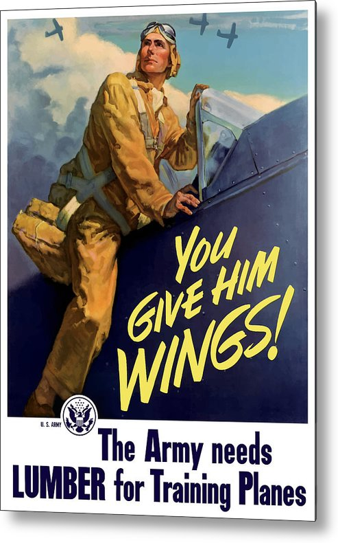 Aircraft Metal Print featuring the painting You Give Him Wings - Ww2 by War Is Hell Store