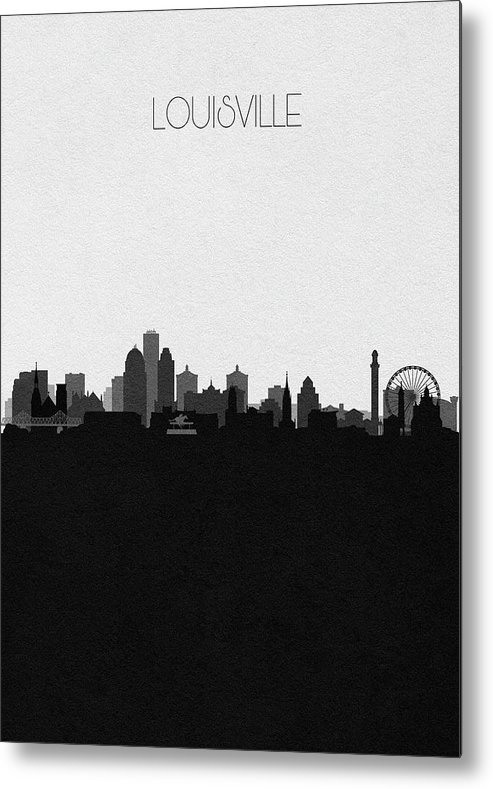 Louisville Metal Print featuring the digital art Louisville Cityscape Art by Inspirowl Design