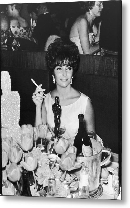 Smoking Metal Print featuring the photograph Actress Elizabeth Taylor At Hollywood by Allan Grant