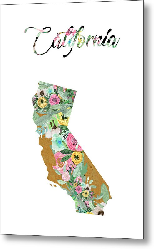 California Collage Metal Print featuring the mixed media California by Claudia Schoen
