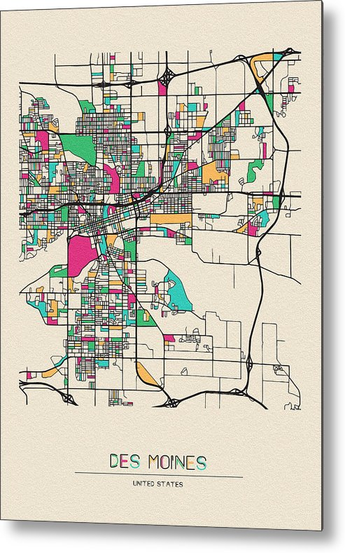 Des Moines Metal Print featuring the drawing Des Moines, Iowa City Map by Inspirowl Design