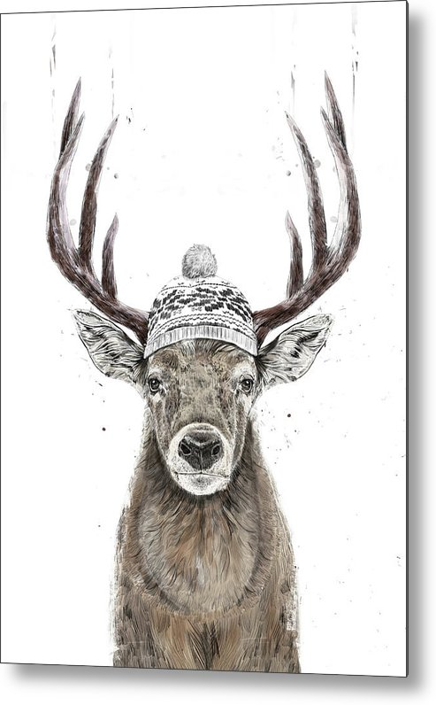 Deer Metal Print featuring the mixed media Let's Go Outside by Balazs Solti