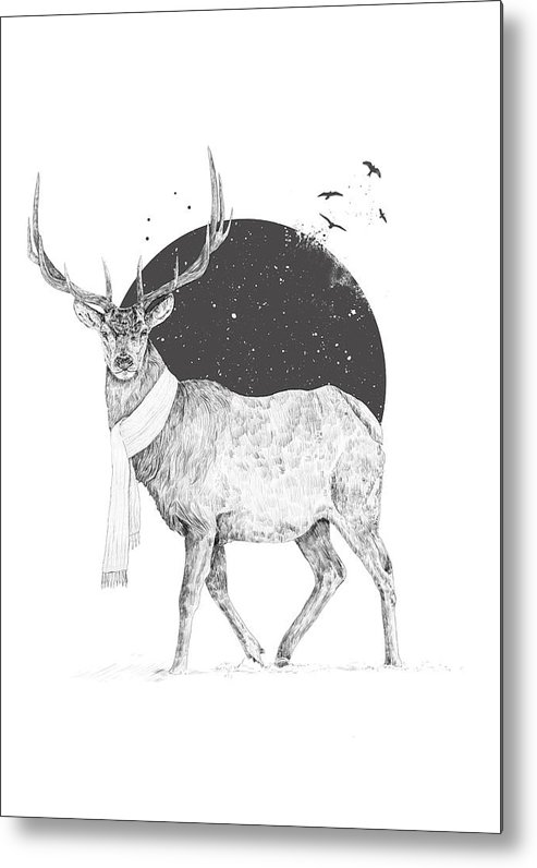 Deer Metal Print featuring the drawing Winter Is All Around by Balazs Solti