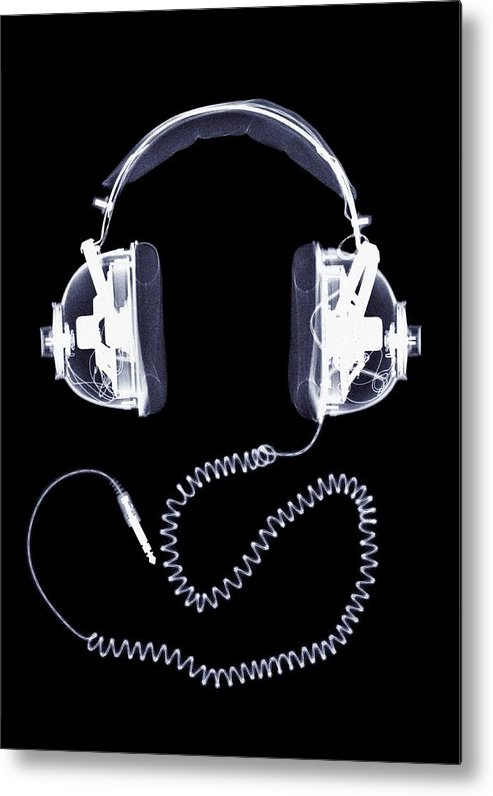 Music Metal Print featuring the photograph X-ray Of Headphones by Nick Veasey