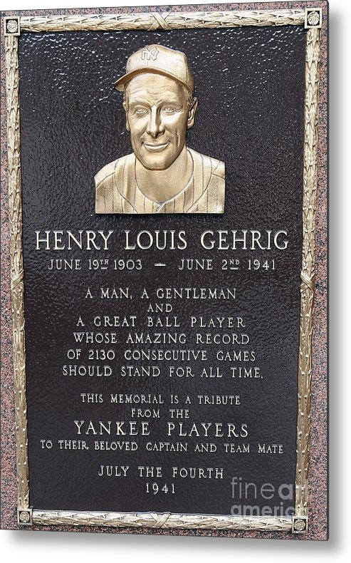 American League Baseball Metal Print featuring the photograph Lou Gehrig by Jim Mcisaac