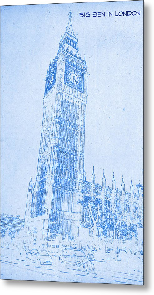 Big ben in london blueprint drawing metal print by motionage designs big ben in london blueprint drawing metal print featuring the digital art big ben in malvernweather Image collections
