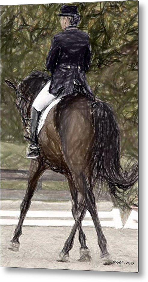 Dressage Horse Portrait Metal Print featuring the drawing Dressage Horse Portrait by Olde Time Mercantile