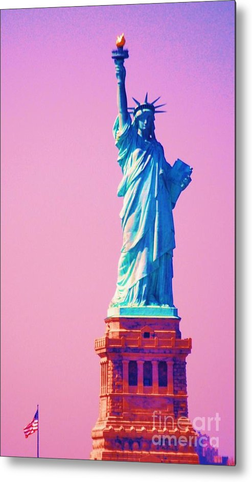 Statue Of Liberty Art New York Iconic Image Surreal Image Travel Tinted For Surrealistic Purposes Americana Gift From France Vertical Lady Liberty Globally Recognized Statue Sculpture Patriotism Metal Frame Highly Recommended Canvas Print Poster Print Available On Greeting Cards 4th Of July Party Invitation Card T Shirts Tote Bags Shower Curtains Mugs Beach Towels And Phone Cases Metal Print featuring the photograph Celebrating Lady Liberty # 3 by Marcus Dagan