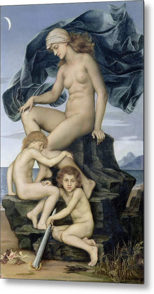 William Metal Print featuring the painting Sleep And Death The Children Of The Night by Evelyn De Morgan