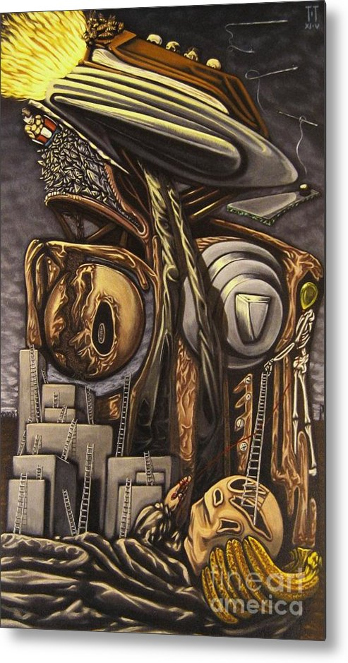 Surreal Metal Print featuring the painting The Dow Itcher by Mack Galixtar