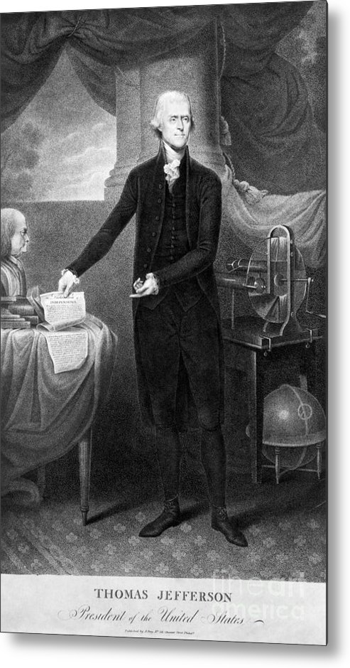 1801 Metal Print featuring the photograph Thomas Jefferson (1743-1826) by Granger