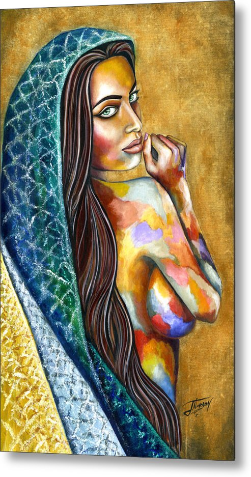 Figure Metal Print featuring the painting Concubine by Jorge Namerow